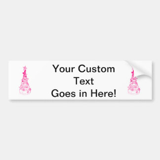 Chirstmas Tree swirls n star mottled pink.png Bumper Sticker