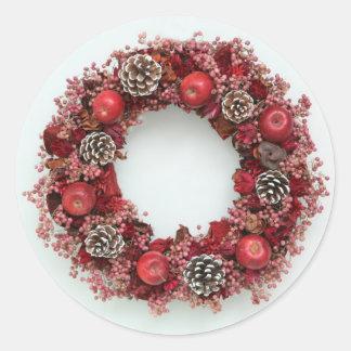 Chistmas wreath Pink &Red Round Sticker