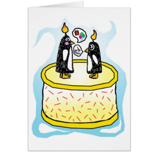 Chit and Chat Birthday Cake Penguins Note Card