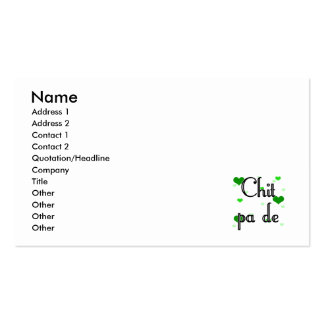 Chit pa de - Burmese - I Love You (4) Hearts Green Pack Of Standard Business Cards