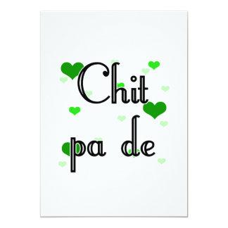 "Chit pa de - Burmese - I Love You (4) Hearts Green 5"" X 7"" Invitation Card"