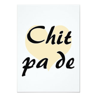 "Chit pa de - Burmese - I Love You Peach Heart.png 5"" X 7"" Invitation Card"