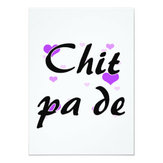 "Chit pa de - Burmese - I Love You Purple Hearts.pn 5"" X 7"" Invitation Card"