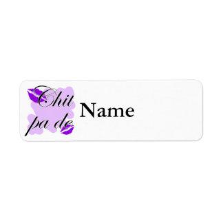 Chit pa de - Burmese - I Love You Purple Kisses (3 Return Address Label