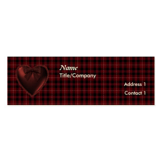 ChitChatPrint Red plaid with heart Card Template Pack Of Skinny Business Cards