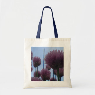 Chive Flowers Against A Blue Sky Budget Tote Bag