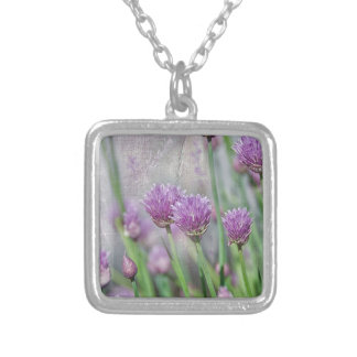 Chives in texture silver plated necklace
