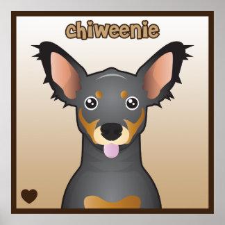 Chiweenie Cartoon Print