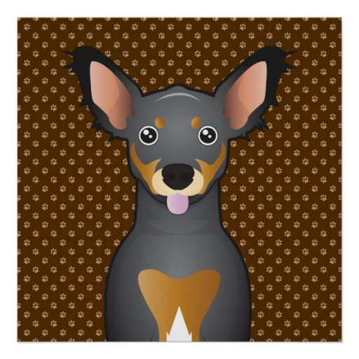 Chiweenie Dog Cartoon Paws Posters