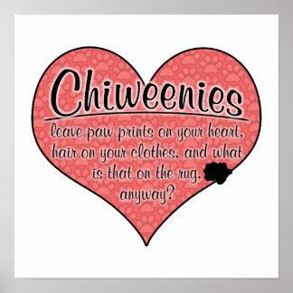 Chiweenie Paw Prints Dog Humor Print