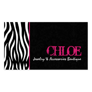 Chloe Black & Hot Pink Zebra Chic Business Card