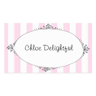 Chloe Delightful Pink Stripes Calling Cards Business Card Templates