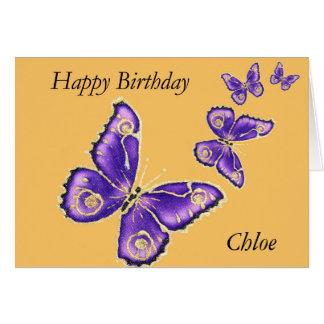 Chloe, Happy Birthday purple butterfly card