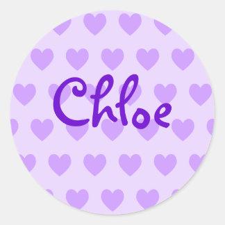 Chloe in Purple Round Sticker