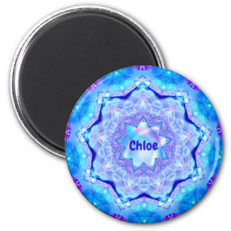CHLOE~ Personalized Blue and Mauve 3D Pattern ~ Magnet
