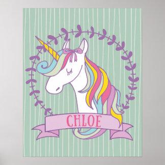 Chloe Personalized Unicorn Poster
