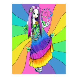 """Chloe"" Rainbow Peace Hippie Fairy Postcard"