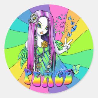 """""""Chloe"""" Rainbow Peace Hippie Fairy Sticker"""