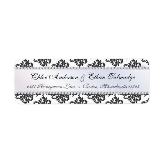 Chloe Silk Damask Couples Address Label