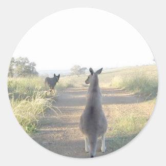 Chloe the kangaroo Sam the sheepdog Round Stickers