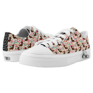 Choc and Tan Doxie Floral Shoes