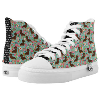 Choc and Tan Doxie Hi Tops - floral mint