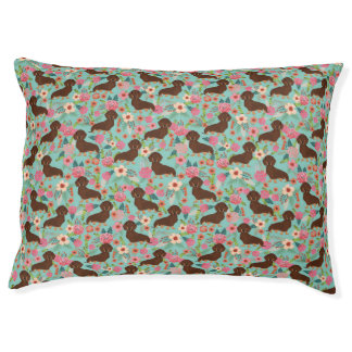 Choc and Tan Doxie Pet bed - florals mint