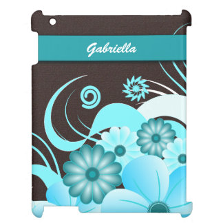 Choc Blue Hibiscus Floral Case Savvy iPad Covers Case For The iPad 2 3 4
