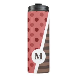 Choco Strawberry Polka Dots and Stripes: Monogram Thermal Tumbler