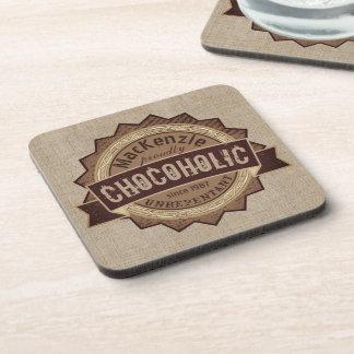 Chocoholic Chocolate Lover Grunge Badge Brown Logo Coaster