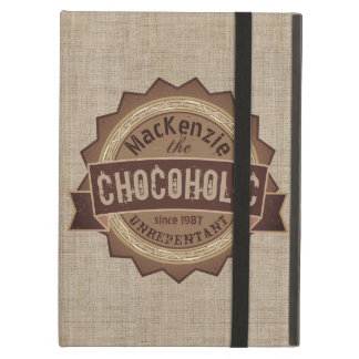 Chocoholic Chocolate Lover Grunge Badge Brown Logo Cover For iPad Air