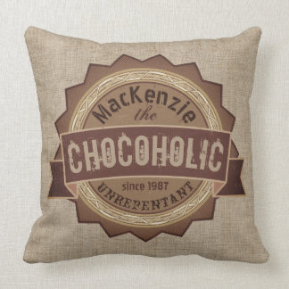 Chocoholic Chocolate Lover Grunge Badge Brown Logo Cushion