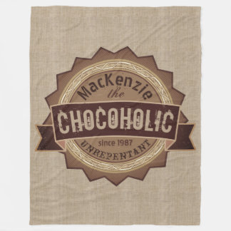 Chocoholic Chocolate Lover Grunge Badge Brown Logo Fleece Blanket