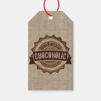 Chocoholic Chocolate Lover Grunge Badge Brown Logo Gift Tags