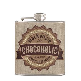 Chocoholic Chocolate Lover Grunge Badge Brown Logo Hip Flask
