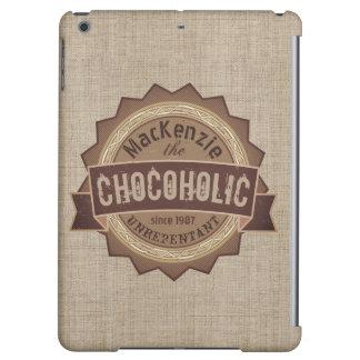 Chocoholic Chocolate Lover Grunge Badge Brown Logo iPad Air Case