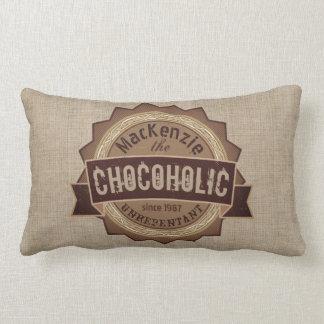 Chocoholic Chocolate Lover Grunge Badge Brown Logo Lumbar Cushion