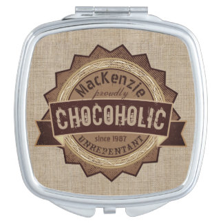 Chocoholic Chocolate Lover Grunge Badge Brown Logo Makeup Mirror