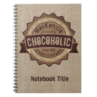 Chocoholic Chocolate Lover Grunge Badge Brown Logo Notebook