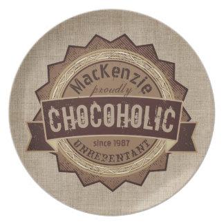 Chocoholic Chocolate Lover Grunge Badge Brown Logo Plate