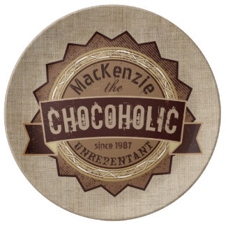 Chocoholic Chocolate Lover Grunge Badge Brown Logo Plate