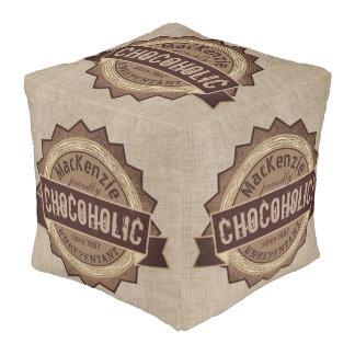 Chocoholic Chocolate Lover Grunge Badge Brown Logo Pouf
