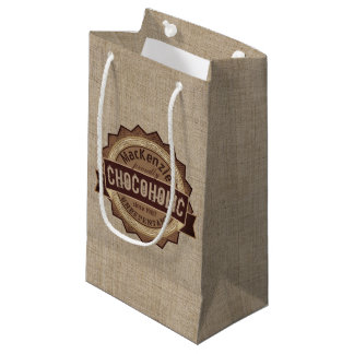 Chocoholic Chocolate Lover Grunge Badge Brown Logo Small Gift Bag