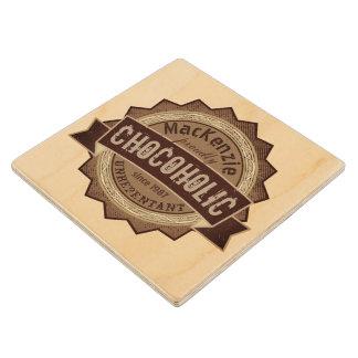 Chocoholic Chocolate Lover Grunge Badge Brown Logo Wood Coaster