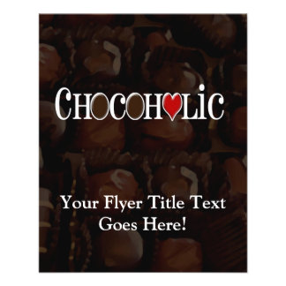 Chocoholic, Dark Brown and Red Heart Funny Design 11.5 Cm X 14 Cm Flyer
