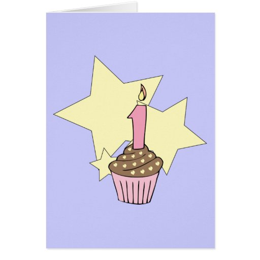 Chocolait First Birthday Cupcake Party Invitation Greeting Card