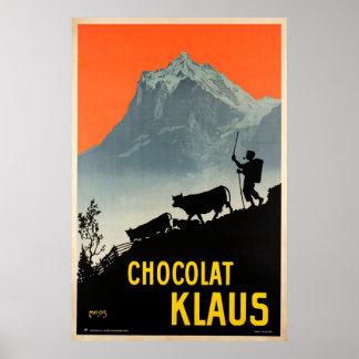 Chocolat Klaus,Swiss Vintage Advertising Poster
