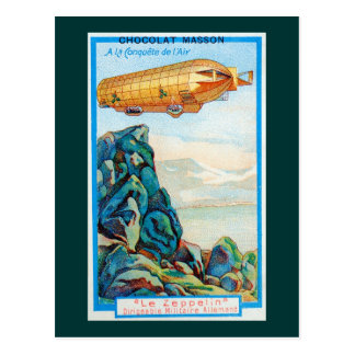 Chocolat Masson Ad with Zeppelin Airship Postcard