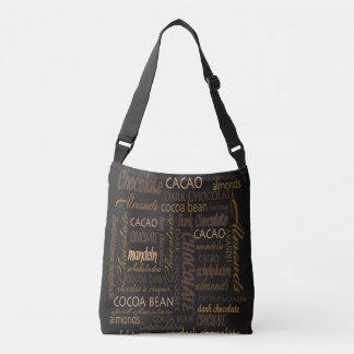 Chocolate, Almonds and Dark Chocolate Text Design Crossbody Bag