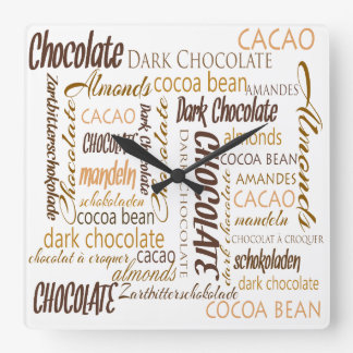 Chocolate, Almonds and Dark Chocolate Text Design Square Wall Clock